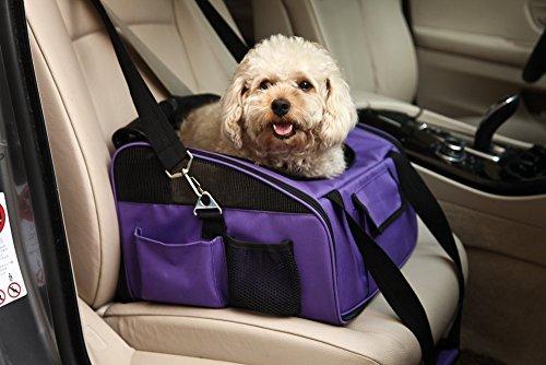 Petcomer Reisen Auto Transportbox für Katze Hund Sicherheit Tragbare Tasche Tote Öffnung oben Gepolsterte Mesh Pet Carrier, zusammenklappbar (S-38*32*24cm, grau)