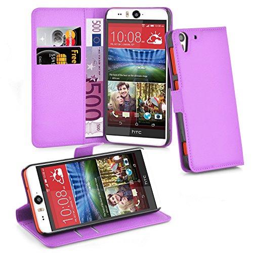 Cadorabo Hülle für HTC Desire Eye Hülle in Mangan Violett Handyhülle mit Kartenfach und Standfunktion Case Cover Schutzhülle Etui Tasche Book Klapp Style Mangan-Violett