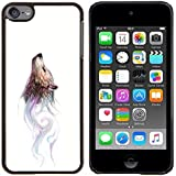 For Apple iPod Touch 6 6th Generation - Wolf Wild Dog Watercolor Painting Art Forest Case Cover Protection Design Ultra Slim Snap on Hard Plastic - God Garden -