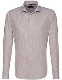SEIDENSTICKER Herren Hemd Tailored Langarm Bügelleicht Streifen Businesshemd Kent-Kragen Kombimanschette weitenverstellbar