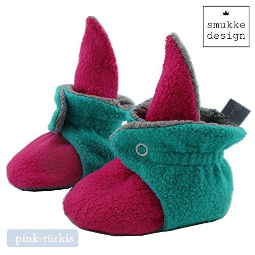 Baby Schuh Booties Babyschuh Babysocken Socken Schuh Krabbelschuh Lauflernschuh Babybooties für Mädchen und Jungen - SmukkeDesign NEU pink-türkis
