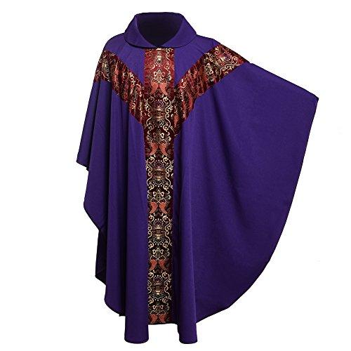 BLESSUME Priester Celebrant Messgewand katholisch Kirche Vater Masse Gewänder Robe mit Stickerei Rot Lila