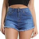 Hocaies Damen Jeansshorts Basic in Aged-Waschung Jeans Bermuda-Shorts Kurze Hosen aus Denim für Den Damen Sommer High Waist Denim Kurze Hose mit Quaste Ripped Loch Hotpants Shorts (38, 02 Hell Blau)