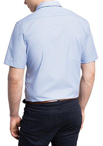 Eterna Modern Fit Kurzarm braun kariert mit Modern Button-Down-Kragen Blau