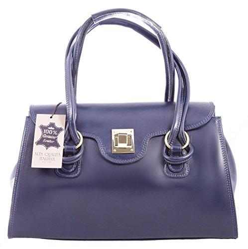 Italy 100 Blau Frau Klassische 37x24x17cm made Tasche in Hand CTM echtes Leder 4qAnBvw0Px