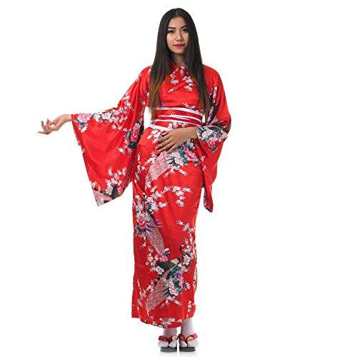 Sexy Sushi Kostüm - Princess of Asia Japanischer Geisha Kimono Kujaku Rot Satin One Size
