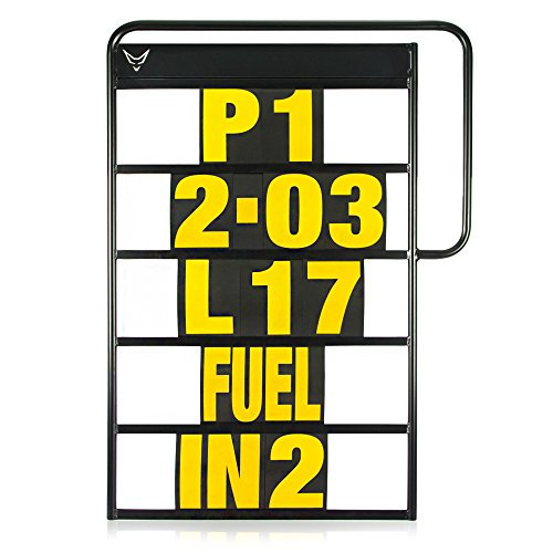 Pitboard, Boxentafel, Infotafel, klein, Set mit 37 Karten, neon gelb, RACEFOXX