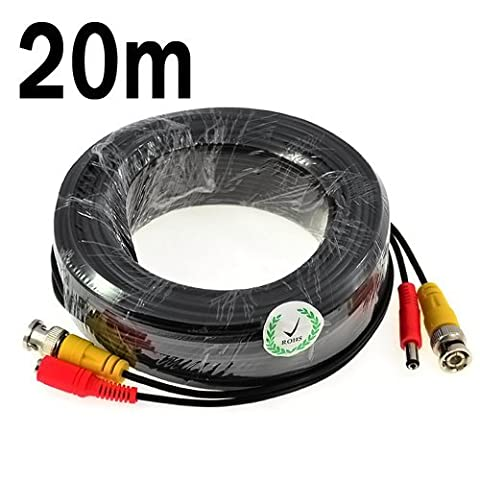 KKmoon 65ft/20m BNC Video Power Siamese Cable for Surveillance Security Camera DVR Kit - Kit Cavo Di Sicurezza