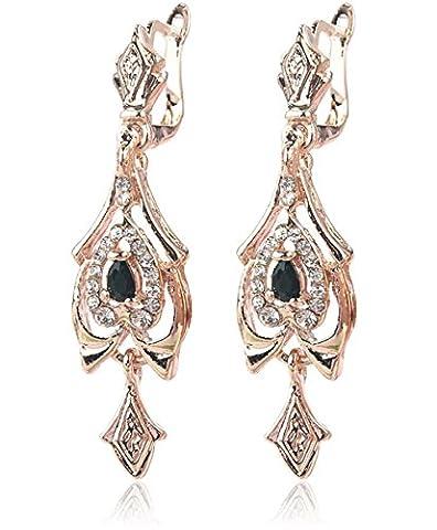 2LIVEfor Brisur Ohrringe Viktorianisch Antik Rosegold 18 karat Gold Überzogene Österreichische Kristalle Schwarz Tropfen Bohemian Ornamente