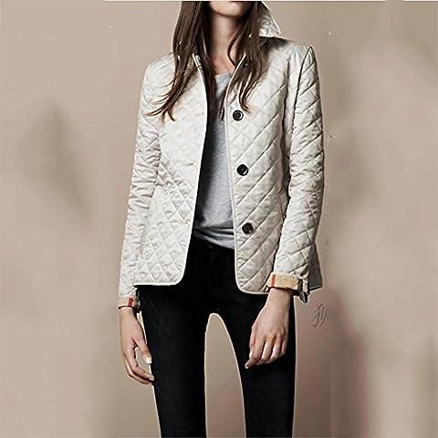 ZQQ Vento di Signore di Inghilterra diamante griglia manica lunga slim pisello cappotto giacca collo giacca trapuntata , white , xxxl
