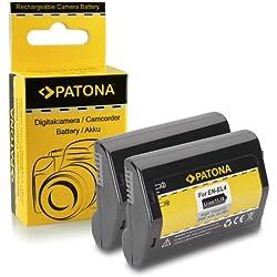PATONA 2X Batterie en-EL4 | EN-EL4a pour Nikon D2H | D2Hs | D2X | D2Xs | D3 | D3X | F6