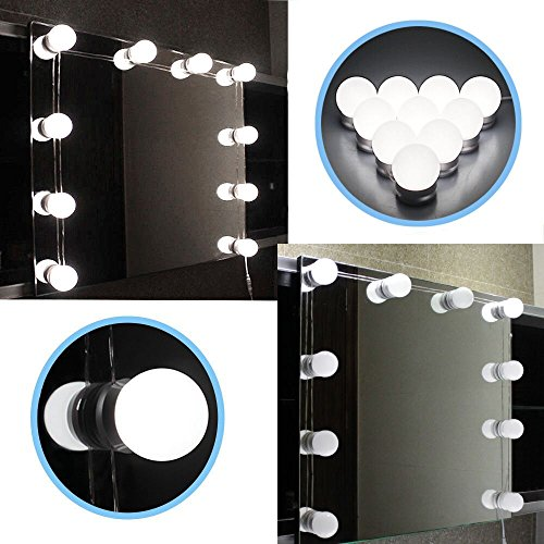 Chende LED Vanity Mirror Lights Kit with Dimmable Light Bulbs, Lighting Fixture Strip for Makeup Vanity Table Set in Dressing Room