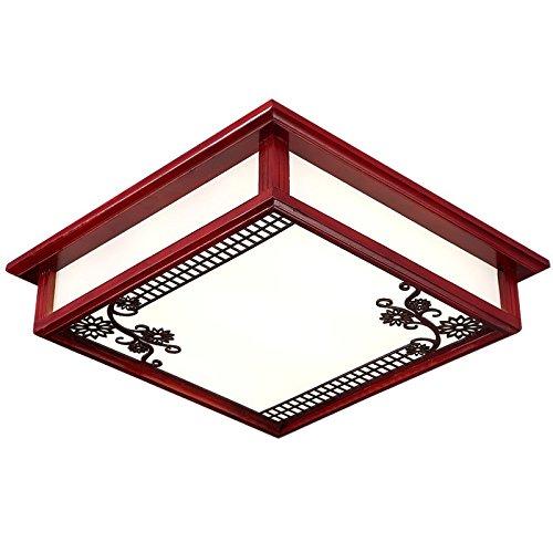 MMYNL Deckenleuchten für Schlafzimmer chinesische Lampen Wohnzimmer Deckenlampe Retro Massivholz Acryl Square wärmer Schlafzimmer Deckenleuchte, 45 CM LED
