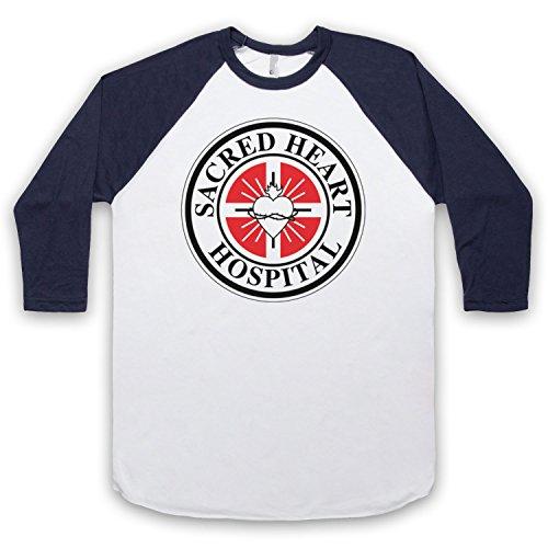 Inspired Apparel Inspiriert durch Scrubs Sacred Heart Hospital Inoffiziell 3/4 Hulse Retro Baseball T-Shirt, Weis & Ultramarinblau, Small