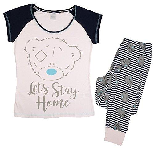 Damen Weiche Baumwolle voller Länge Pyjama Pyjama PJ 's Damen Xmas Geschenk Presents Größe UK 8–22 Gr. 44, Tatty Teddy 'Lets Stay Home' (Pj Pyjama Baumwolle Damen)
