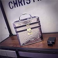 Borse personalizzate Cosmetic Bag Hand - Held doppio brillante - strato caso cosmetico Grande - Capacità Cosmetici Borsa con uno specchio pratico ( colore : Silver )