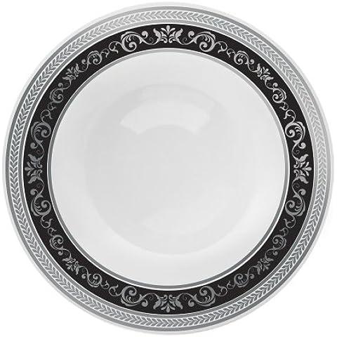 Decorline-Vajillas desechables Partido plato Platos de plástico blanco con borde negro / plata de plástico resistente vajillas desechables -Royal Collection (cuencos redondos de plástico 150ml)