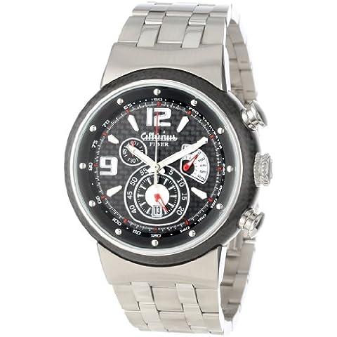 Altanus Geneve de los hombres 7907b-02-red Cable de cronógrafo reloj de pulsera de acero inoxidable de fibra de carbono