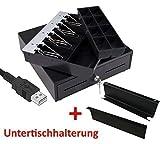 USB Mini Kassenlade mit Untertischhalterung iQCash330USB 33x34,5x10cm, Kassenschublade Geldlade Geldkassette