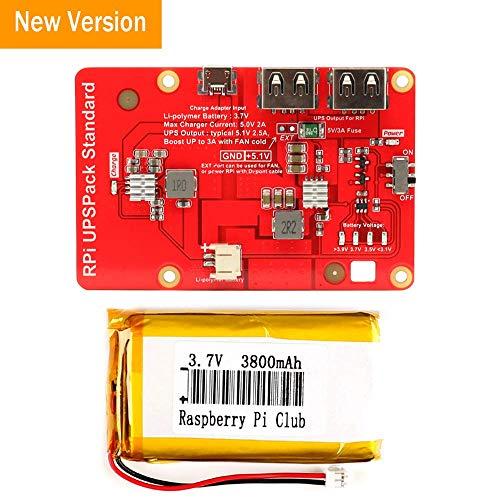 MakerHawk Raspberry Pi-Akkus, RPI-UPS-Lithiumbatterie-Erweiterungsplatine USB-Netzteilmodul mit Schalter für Mobiltelefon, RPi 3 Modell B B + Pi 2B B +