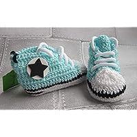 Zapatillas deportivas de crochet estilo converse para bebe, Talla 0-3 meses- unisex