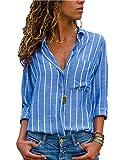 Dokotoo Damen Casual Gestreift Hemd Frauen Fashon Striped Langarm Lose Bluse T-Shirt Tops Oberteile Mode Groß Größe Lange Ärmel XL