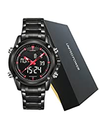 NAVIFORCE Reloj deportivo hecho de acero por completo, para hombre, con LED, digital, estilo militar - rojo