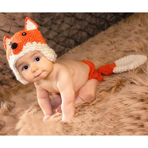Lalawow Baby Fotografie Requisiten Neugeborene Baby Strickwolle Baby Kostüm Fox Stickmütze und Windel - Orange Fox Kostüm
