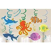 Amscan671624Adornos colgantes para fiestas, diseño de personajes marinos y espirales