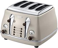 De'Longhi CTOV4003.BG Vintage Icona 4 Slice Toaster - Cream