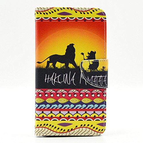 Per Galaxy Note 4 , ivencase bello Tramonto Tribal Animal Lion Portafoglio Magneticoo Stile PU Pelle [Flap di chiusura] Flip Stand Protectiva Custodia CaseCover per Samsung Galaxy Note 4 IV N910
