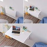 Homfa Wandtisch klappbar 80x60cm weiß mit 2 Halterungen Klapptisch Wand Küche Wandklapptisch Holz Esstisch Küchentisch Schreibtisch Computertisch 30KG belastbar Test