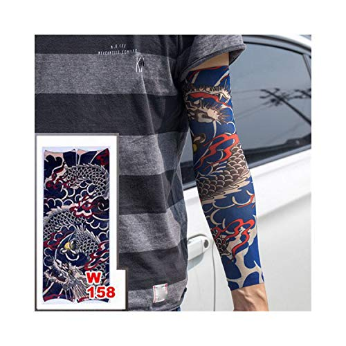 Temporäre Tattoo-Ärmel,Motorradhülle Sonnenschutz, New Fashion High Quality Fake Temporary Tattoo Arm Sleeves Dragon Love Design Reuse Unisex Fake Slip On Tattoo Arm Sleeves Kit w158