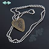 Bronzed : Electric Guitar Bass Pick Necklace Metal with 50cm/ 20inch Ball Chain
