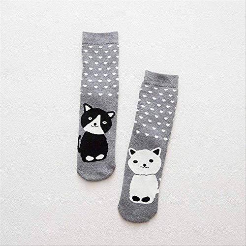 DYGZS Weihnachtssocken Herbst Winter Warm Terry-loop Socken Süße Tier Muster Lässigsocken Lustige Socken Sokken Weihnachten Socken Geschenk Graue Socken -