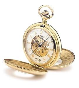 Rotary MP00713/01 - Reloj analógico de cuarzo para hombre, correa de acero inoxidable chapado color dorado de Rotary