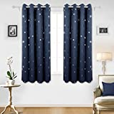 Deconovo Star Foil Printed Eyelet Blackout Curtains for Living Room with Two Matching Tie Backs 46 x 54 Inch Two Panels Navy Blue