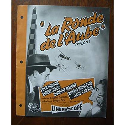 Dossier de presse de La Ronde de l'Aube (Pylon) (1957) – 27x42cm - Film de Douglas Sirk avec R Hudson, D Malone – Photos N&B + résumé scénario – Très Bon état.