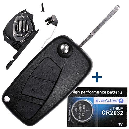 Auto pieghevole chiave telecomando 1X di 3tasti + 1X Vergine hu100+ 1X CR2032batteria per Citroen Peugeot FIAT IVECO Lancia