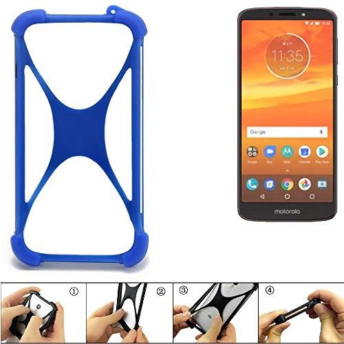 K-S-Trade Handyhülle für Motorola Moto E5 Plus Dual-SIM Silikon Schutz Hülle Cover Case Bumper Silikoncase TPU Softcase Schutzhülle Smartphone Stoßschutz, blau (1x)
