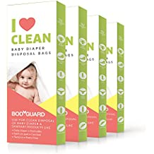 BodyGuard Baby Diaper Disposable Bags - 60 Bags - Oxo Biodegradable, Leak-Proof Bags for Discreet Disposal of Diapers and Intimate Sanitary Products