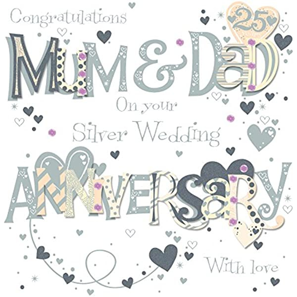 25th Silver Wedding Ling Design TALKING PICTURES ANNIVERSARY CARD