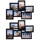 WOLTU BR9730-2 Bilderrahmen Bildergalerie fotogalerie, für 6 Bilder im 10x15cm Bildformat, Kunststoff Rahmen, Schwarz