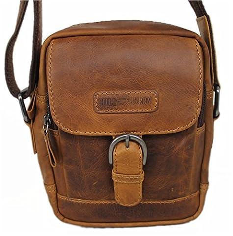 Hill Burry Unisexe Sac à bandoulière/sac à bandoulière en naturgegerbtem cuir souple–Look Vintage
