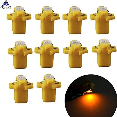 AZQKJ 10PCS Yellow T5 B8.3D 5050 1SMD Auto LED Instrument Indikator Glühlampe Tacho Beleuchtung Armaturenbrett Licht