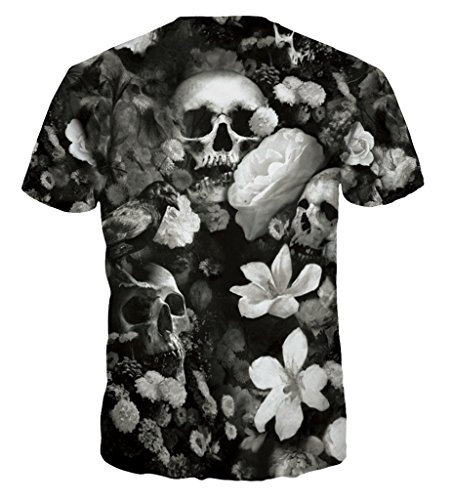 Pretty321 Men Women Black White Dead Floral Skull Tops Tee Harajuku T-shirt Slim Black White Floral Skull