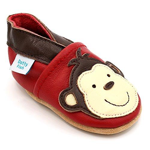 Dotty Fish weiche Leder Babyschuhe mit rutschfesten Wildledersohlen. Kleinkind Schuhe. Affe Design auf roten Schuh. Jungen und Mädchen. 18-24 Monate