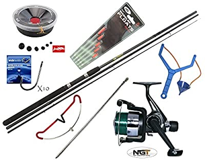 Hunter Pro® 10' Carbon-X Complete Beginners Starter Float Match Fishing Kit Rod, NGT TZ40R Reel With Line, Tackle, Rod Rest & Catapult Set by Hunter Pro
