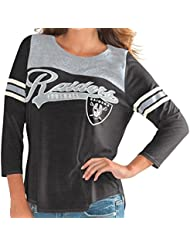 "Oakland Raiders Women's G-III NFL ""Touchdown"" Dual Blend 3/4 Sleeve T-shirt Chemise"