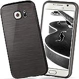 moex Samsung Galaxy S6 | Hülle Silikon Schwarz Brushed Back-Cover TPU Schutzhülle Ultra-Slim Handyhülle für Samsung Galaxy S6 Case Dünn Silikonhülle Rückseite Tasche